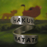 Disney, Hakuna Matata Ring, Aluminium Ring, Gifts for Best Friend, Lion King, Twist Ring, Personalized Ring, Adjustable Ring