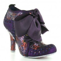 Irregular Choice Abigails Party Too Womens Sequinned 4-Eyelet Court Shoes - Purple  Bordo Red
