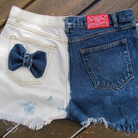 There are two sides to every story Princess.  Frayed jean denim shorts multi bleach dip dyed
