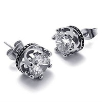 Titanium Steel Transparent CZ Crown Stud by Hallomall