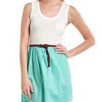 Belted Mint 2-Fer Dress: Charlotte Russe