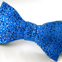 SALE - 1/3 Off - Freestyle Silk Bowtie - Royal Blue Dots - &#x27;Splatter I&#x27;