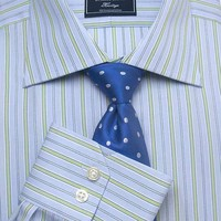 Men's Blue Green Stripe Slim Fit Business Shirt - Single Cuff