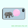iphone 4 case -   Cute Elephant and Balloon,cute  iphone 4S case in plastic or silicone,color in black or white or clear