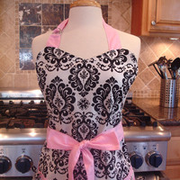 Retro Apron - Cute Black and White Damask Apron with Pink Ties - Full Hostess Reversible Apron for women