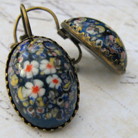 Blue Millefiori Glass Earrings, Vintage Glass Cabochon Earrings, Blue Glass Flower Earrings, Retro Lever Back Earrings, Dangle Earrings
