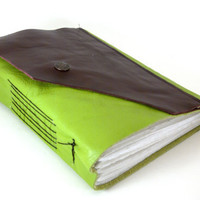 Apple Green and Burgundy - Leather Journal or Sketchbook (lg)