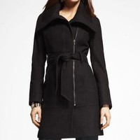 RIB TRIMMED WOOL BLEND COAT at Express