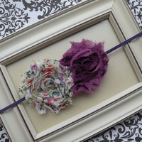 Shabby Headband Vintage and Purple