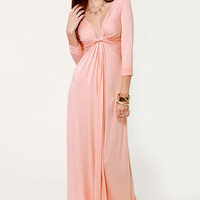 With a Twist Light Pink Maxi Dress