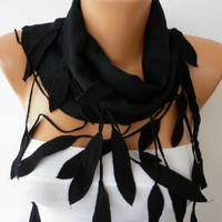 Women Pashmina  Scarf  - Cotton Scarf - - Cowl with Lace  Edge - Black