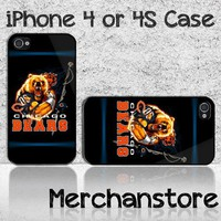 Chicago Bears NFL Team Bear Mascot Custom iPhone 4 or 4S Case Cover