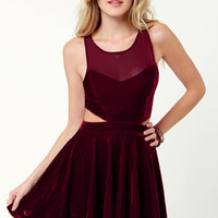 Mink Pink Snow Palace Cutout Burgundy Velvet Dress