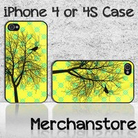 Unique Tree Silhouette Custom iPhone 4 or 4S Case Cover