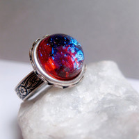 Industrial Steampunk Dragon&#x27;s Breath Opal Ring - Adjustable Statement Ring