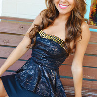She Walks A Spiked Path Dress: Black/Gold | Hope's