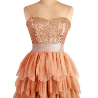 Rose gold party pleated sparkle dress