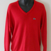 Izod Lacoste Sweater Mens V Neck Mens Preppy Sweater 80s Preppy Clothing Red Sweater Men Lacoste Men Izod Alligator Izod Sweater 80s Clothes