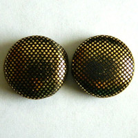Button Earrings Gold Black Metallic Look Shiny Snake Skin Inspired