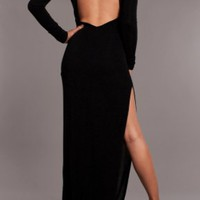 Open Back Sparkle Side Slit Dress BLACK — Tanny's Couture LLC