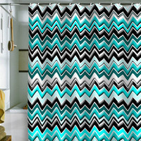 DENY Designs Home Accessories | Madart Inc. Turquoise Black White Chevron Shower Curtain