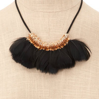 Charlotte Russe - Black-Feather Cord Necklace