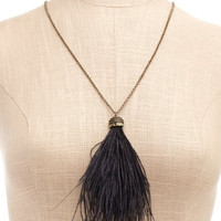 Charlotte Russe - Feather Tassel Necklace