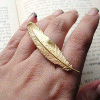 Feather Ring -- Gold Double Finger Statement Ring -- Quill