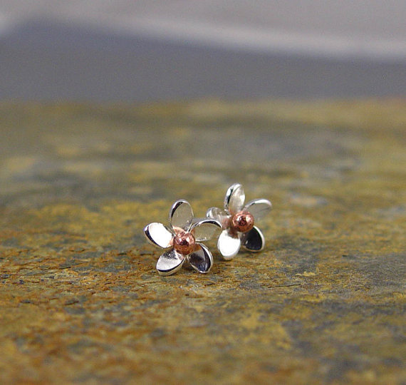 Plumeria Silver Flower post earrings by Hapagirls on Etsy
