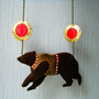 Felt & Vegan Leather Necklace - Circus Bear in Brown, Gold and Red - MADE TO ORDER