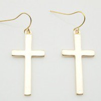 Fashion Gold Tone Cross Dangle Earrings wholesale