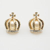 Gold Pearl Rhinestone Crown Stud Earrings wholesale