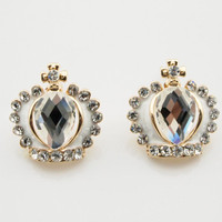 Shiny Rhinestone Crown Stud Earrings wholesale