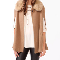 Poncho w/ Faux Fur Collar