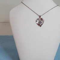 Amethyst Diamond Heart Jewelry Necklace, Sterling Silver, OOAK