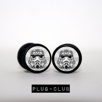 Storm Trooper Fake Plugs by Plug-Club with Black Base