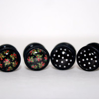 Vintage Floral Fake Plugs- Black by Plug-Club Plugs 2 PAIRS for 24