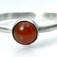 Carnelian Red 6mm Cabochon Sterling Silver Ring