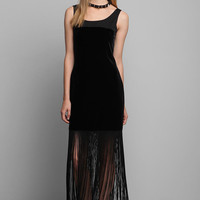 Vintage 80s Black Velvet Fringe Dress