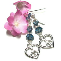 Swarovski Xilion Denim Blue Crystal and Peace Heart Charm 925 Earrings