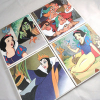 Disney Snow White Upcycled Book Pages Ceramic Coasters - set of 4