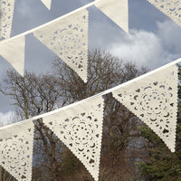 Outdoor wedding Ivory fabric bunting, ivory lace pennants