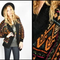 Vtg 80s Black CHUNKY ETHNIC KNIT Sweater BOHO Hippie CARDIGAN Coat Jacket