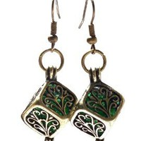 Recycled Emerald Beer Bottle Brass Filigree Box Earrings: Jewelry: Amazon.com