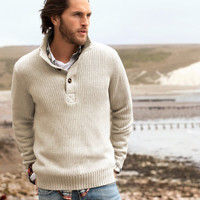 Product Detail | H&M US - Rib-knit sweater with a stand-up collar and short button placket