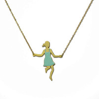 Jump rope player- mint- gold- long necklace