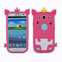 Amazon.com: Fosmon 3D Pig Design Silicone Case for Samsung Galaxy S3 S III - Peach: Cell Phones & Accessories