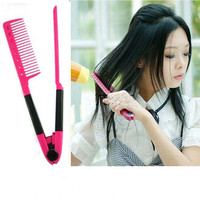 Women Girl Lady DIY Salon Hairdress Styling Hair Straightener V Comb
