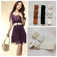 Women Lady Fashion Bowknot Elastic Stretch Waist Belt Wide Stretch Waistband