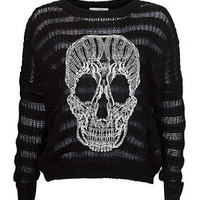 Misumi Black Wavy Skull Stripe Knitted Jumper